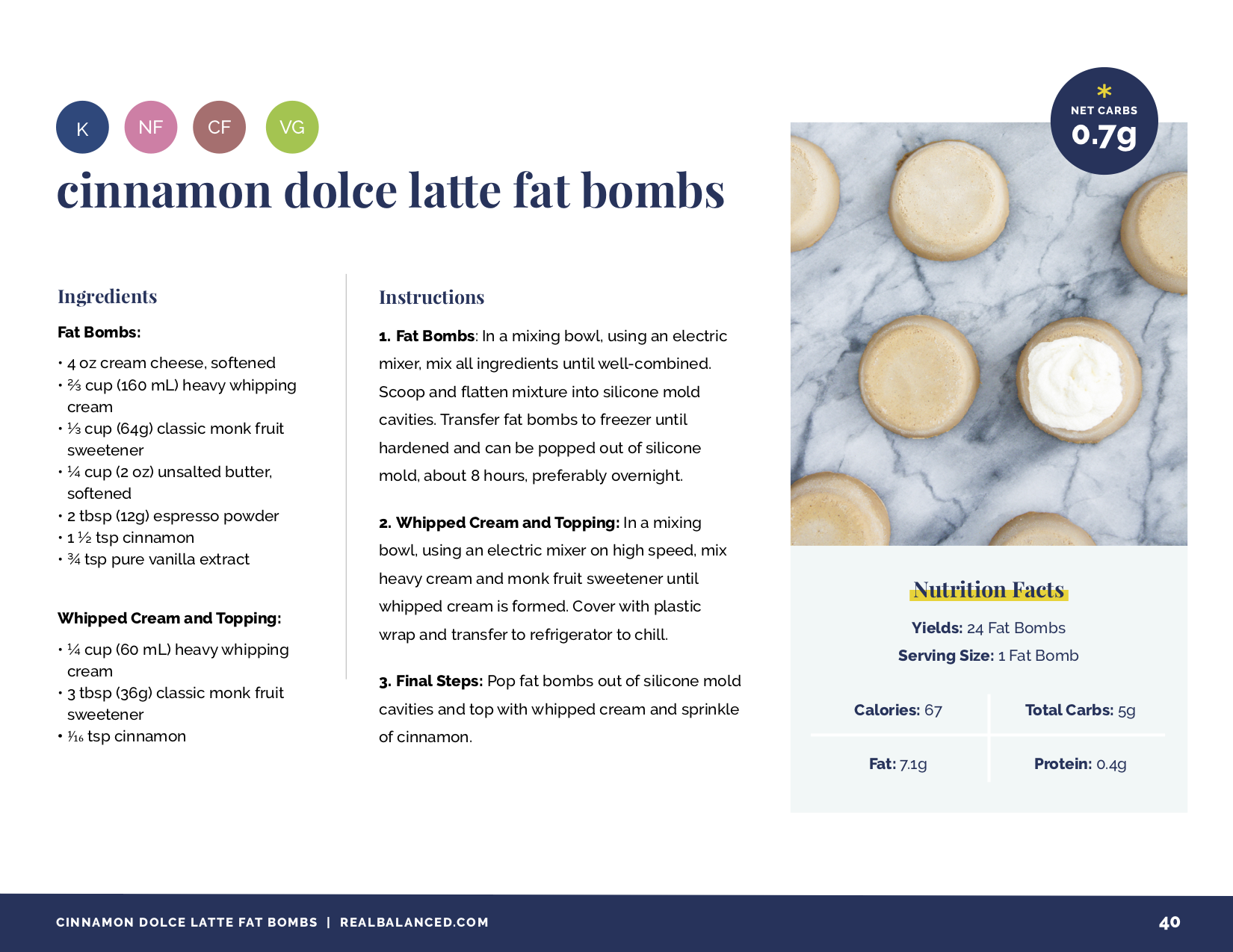 mini fat bomb favorites ebook recipe page for cinnamon dolce latte fat bombs
