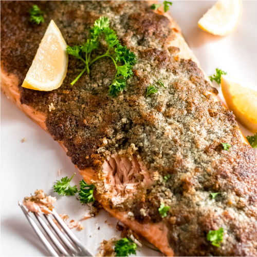 crispy parmesan dill salmon image for sales page