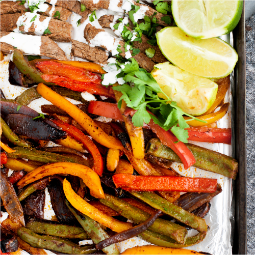 sheet pan steak fajitas image for sales page